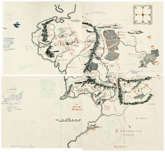 Карта Средиземья с пометками Толкина